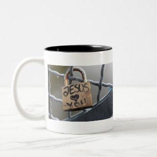 lock jesus Two-Tone coffee mug