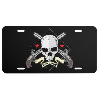 Lock n Load Skull With Pistols And Stars License Plate