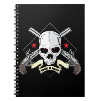 Lock n Load Skull With Pistols And Stars Spiral Note Books