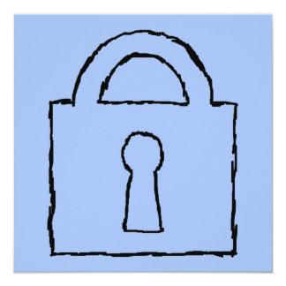 Lock. Top Secret or Confidential Icon. 5.25x5.25 Square Paper Invitation Card