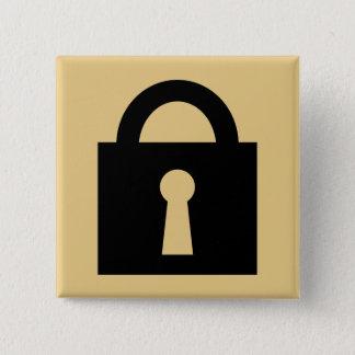 Lock. Top Secret or Confidential Icon. Pinback Button