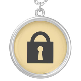Lock. Top Secret or Confidential Icon. Silver Plated Necklace