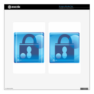 Lock Underwater Blue Icon Button Kindle Fire Decal