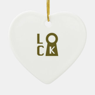 Lock you heart for me! ceramic ornament