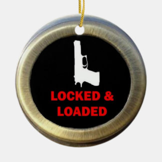 Locked and Loaded Gun Double-Sided Ceramic Round Christmas Ornament