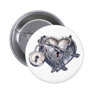 Locked Heart Pinback Button
