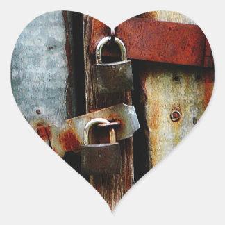 Locked up Tight! Two Rusty Bars and Key Locks Heart Sticker