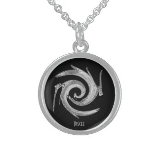 Locket abstracto del zodiaco de Piscis de la plata Collares De Plata Esterlina