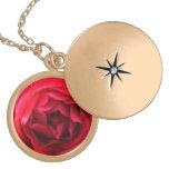 Locket asombroso del oro del rosa rojo collares personalizados