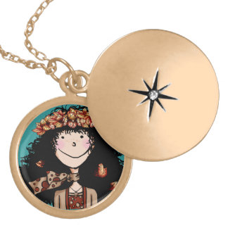 Locket, Autumn Girl Locket Necklace