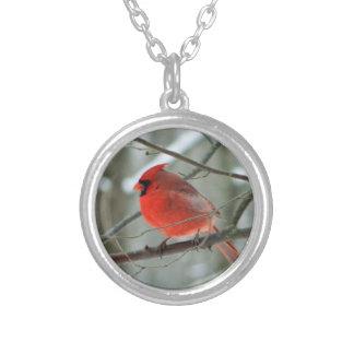 Locket cardinal rojo del pájaro colgante redondo