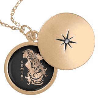 Locket cepillado elegante del zodiaco de los collar redondo