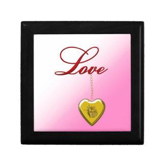 Locket color de rosa de oro caja de regalo