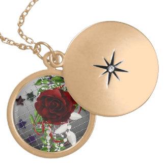 Locket color de rosa precioso en oro dije
