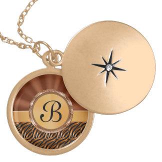 Locket con monograma del oro para las mujeres colgante personalizado