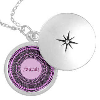 Locket conocido personalizado Flo púrpura de plata