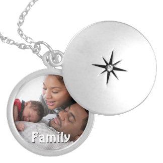Locket de la foto de familia para la mamá collar redondo