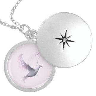 Locket de plata de Stering de la paloma del rosa Pendientes