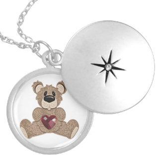 Locket del oso de peluche del corazón del birthsto medallón