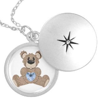 Locket del oso del corazón del birthstone de dicie collar redondo