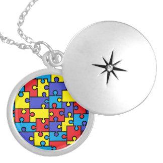 Locket del rompecabezas del autismo collar con colgante