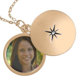 Locket medio adaptable plateado oro collar con colgante