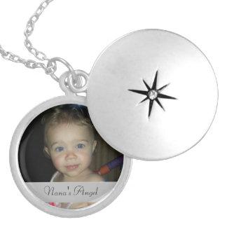 Locket personalizado redondo del ángel de Nana Pendientes
