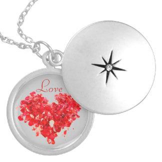 Locket rojo del corazón del amor pendientes personalizados