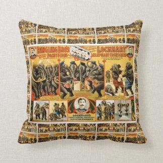 Lockhart Elephant Comedians Vintage Circus Act Pillow