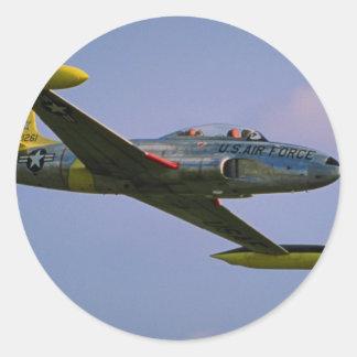 Lockheed T-33 Silverstar in flight at Duxford, Cam Classic Round Sticker
