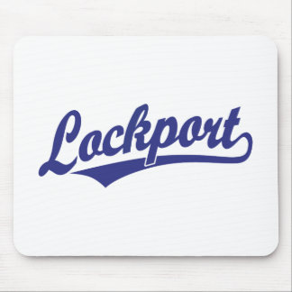 Lockport script logo in blue mouse pad