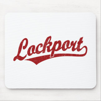 Lockport script logo in red distressed mouse pad