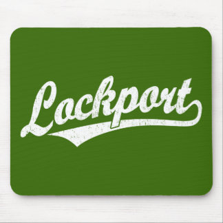 Lockport script logo in white distressed mouse pad