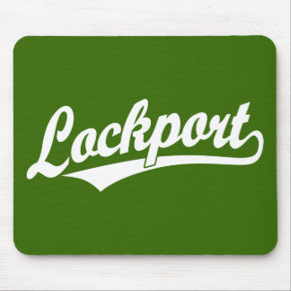 Lockport script logo in white mouse pad