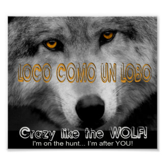 LOCO COMO UN LOBO - CRAZY LIKE A WOLF! POSTER