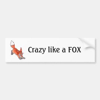 Loco como una pegatina para el parachoques del Fox Pegatina De Parachoque