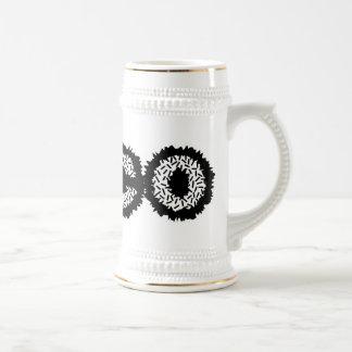 Loco estático - negro y blanco jarra de cerveza