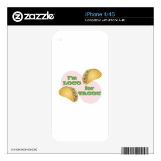 Loco para el Tacos Calcomanías Para El iPhone 4S