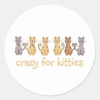 Loco para los gatitos pegatina redonda