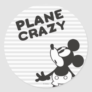 Loco plano clásico de Mickey el   Pegatina Redonda
