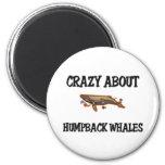 Loco por ballenas jorobadas imán de frigorifico