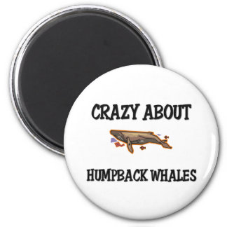 Loco por ballenas jorobadas imán redondo 5 cm