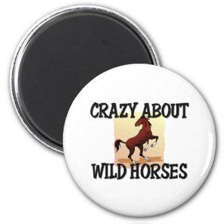 Loco por caballos salvajes imanes de nevera