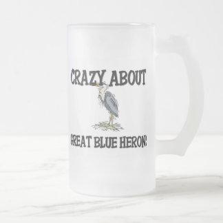 Loco por garzas de gran azul taza de café