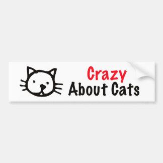 Loco por gatos pegatina de parachoque