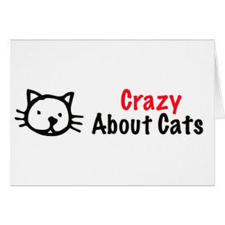 Loco por gatos tarjeta de felicitación