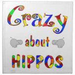 Loco por hipopótamos servilleta imprimida