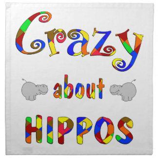 Loco por hipopótamos servilletas imprimidas