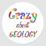 Loco por la geología etiqueta redonda