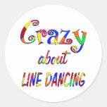 Loco por la línea baile etiqueta redonda